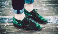 Green velvet shoes