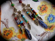 Blue Spirit Feathers  Native American Earrings with by qisma