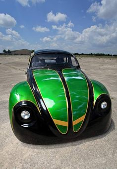 green and black modified front end beetle