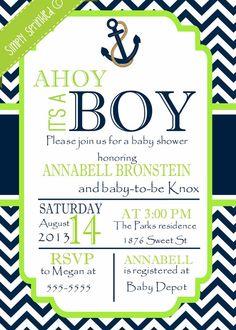 Preppy Nautical Baby Shower Invitation Ahoy Its a Boy Baby
