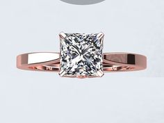 Princess Cut Natural White Topaz 1.25ct 14kt Rose Gold Engagement Ring Wedding Ring Blooming Love Inspired PWTRG4015