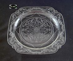 """Dinner Plate, """"Madrid"""" pattern, in Clear Depression Glass Clear Plates, Etched Glassware, Antique Glass, Wedgwood, Things To Know, Pyrex, Milk Glass, Colored Glass, Dinner Plates"""