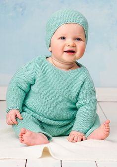 Strikkeopskrift | Strik fint babysæt i turkis farve | Blød strik til babyer | Strik til børn med søde motiver og detaljer | Lun og blød børnestrik