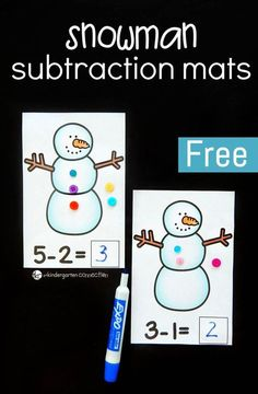 These snowman subtraction mats are the perfect hands-on math center for kindergarteners or first grade students this winter season! #wintermathcenters #mathfreebies