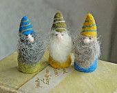 Needle Felted Gnomes, Waldorf Gnomes, Dwarves. $26.00, via Etsy.