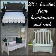 Headboard Benches are fun and easy repurposed furniture projects that you can make this weekend. Lots of ideas and directions for each headboard bench.