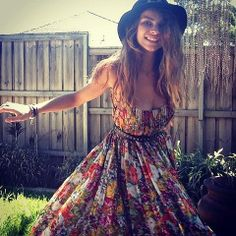 #flowery #dress #hat #belt