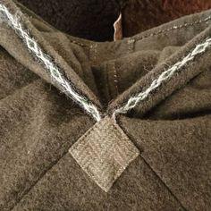Detail of the hood! ~ #viking #vikingtrade #vikinghood #handsewing #tabletwoventrim #wool