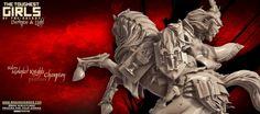 Update - Mounted Knights (Sisters - F) Elf Images, Dark Elf, Elves, Lust, Sisters, Lion Sculpture, Fantasy, Statue, Knights
