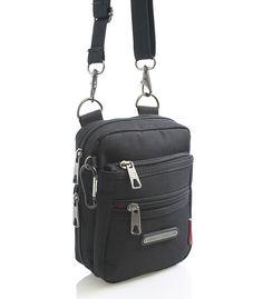 #taška #sport Menší černá taštička přes rameno na doklady značky Enrico Benetti. Multifunkční kapsa, kterou lze připnout na opasek. Jednoduše odpojíte popruh karabinou a na kapsu nasunete opasek o maximální tloušťce 5,5 cm. Taštičku si zamilujete. Je velice prakticky, ale i designově vyřešená