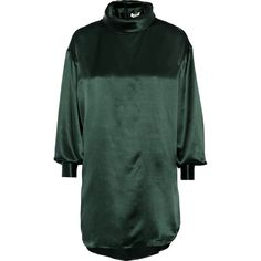 Issa Jenny oversized silk-satin blouse ($220) ❤ liked on Polyvore featuring tops, blouses, green, green blouse, green top, issa, satin silk blouse and oversized blouse