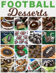 A delicious and festive selection of football themed desserts perfect for Super Bowl parties - or even a child's birthday party. Football brownies, football cupcakes, football dips - lots of recipes and ideas.