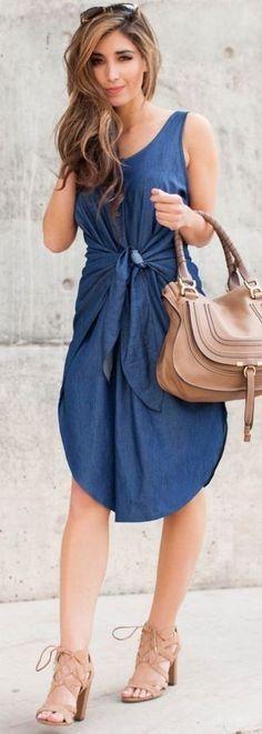 #spring #fashion #denim #outfitideas |Denim Tie Waist Dress
