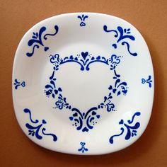 Prato decorativo Coração azul (20 x 20 cm)