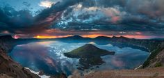 Oregon Crater Lake Sunrise Pano by Graham Hill - Photo 138361849 - 500px