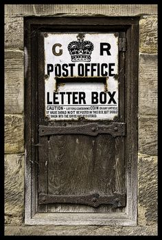 Post office letter box door in the UK Old Doors, Windows And Doors, Front Doors, Post Office, Post Bus, Vintage Mailbox, Old Letters, Pocket Letters, When One Door Closes