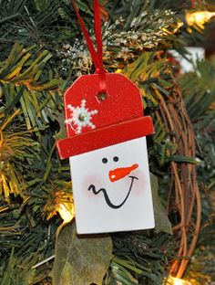 Tipped Hat Snowman Ornament Tag How To