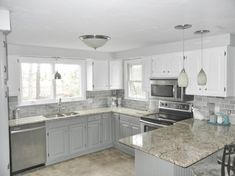 Oak Kitchen Makeover - 2 toned gray and white cabinets and gray subway tile (for… Blue Gray Kitchen Cabinets, Kitchen Wall Colors, Grey Kitchens, Painting Kitchen Cabinets, White Cabinets, Oak Cabinets, Kitchen Cupboards, Kitchen Redo, Kitchen Floor