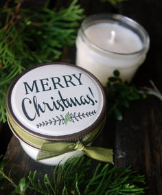 Set of 12  4 oz. Soy Candles / Merry Christmas / by RescueCandle