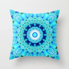 Blue Ice Glass Mandala, Abstract Aqua Lace Throw Pillow by Diane Clancy's Art - $20.00