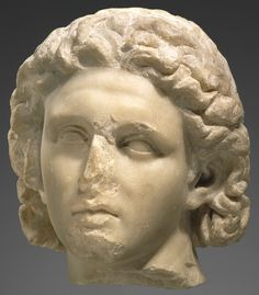 Excavation of the third chamber of the Kasta Tumulus in Amphipolis has revealed a limestone cyst grave containing human remains .  Head of Alexander the Great from figural group, 320 B.C.