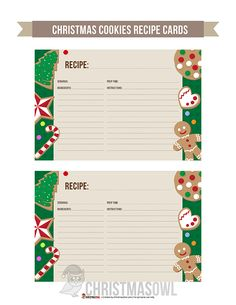 Free printable recipe cards featuring colorful Christmas cookies on a green back… – Christmas DIY Holiday Cards Christmas Cookies, Christmas Diy, Christmas Cards, Free Christmas Printables, Free Printables, Printable Recipe Cards, Recipe Printables, Printable Labels, Diy Holiday Cards