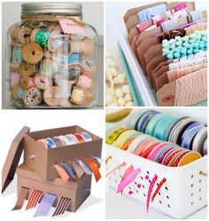 The Sea of Scrap: LMdI Storage of tapes Sewing Room Organization, Craft Room Storage, Organizing, Diy Arts And Crafts, Diy Crafts, Party Deco, Study Room Decor, Ribbon Storage, Craft Room Design