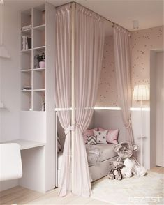 Room Decor Ideas Black - Contemporary Neutral Homes That Don& Need Bold Color To Wow. Drapes match walls and bedding. Lyddie's hangout space Girls Bedroom Colours, Child Bedroom Lighting Ideas Looks cool, isn't it? blush pink canopy little girl's room Cute Bedroom Ideas, Cute Room Decor, Girl Bedroom Designs, Trendy Bedroom, Luxury Kids Bedroom, Nursery Ideas, Bedroom Modern, Design Bedroom, Room Decor For Girls