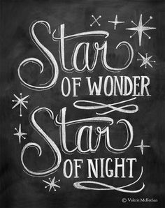 Star of Wonder Print Chalkboard Art Holiday by LilyandVal