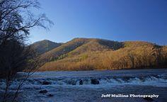 North Carolina Mountains, blue skies, hiking, mountain range, clouds, trail, backpacking, river