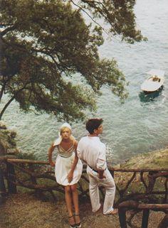 Gorgeous getaway. Gemma Ward and Josh Hartnett photographed by Mario Testino for Vogue.