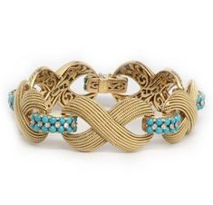 Cartier | A Turquoise, Diamond and Gold Bracelet, by Cartier