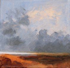 Original Landscape Painting Clouds 8x8 Sea and Sky by PetiteMalou