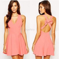 Women Sexy Deep V Neck Sleeveless Backless Back Cross Strap Bow Solid A-Line Short Dresses = 1655757828 from Dear Deer Fashion.
