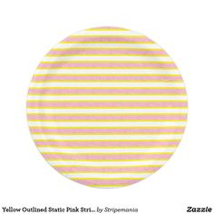 Yellow Outlined Static Pink Stripes Paper Plate