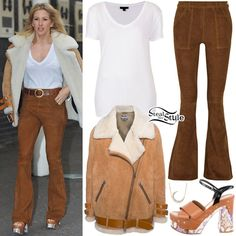 Ellie Goulding was spotted leaving the ITV Lorraine studios in London wearing a Topshop Loose Fit V-Neck Tee (Sold Out), Acne Studios Shearling-Lined Velocite Moto Jacket (Sold Out), Frame Denim Le Flare De Francoise Suede Flared Pants ($314.00), a Gabriel & Co. Diamond Crescent Moon Necklace ($630.00) and Prada Platform Clog-Bottom Sandals ($475.00). You can find a similar jacket at Forever 21 ($33.99).