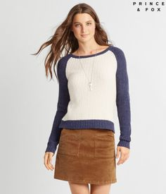 """Contrasting raglan sleeves give this extra comfy Prince & Fox Baseball Popover Sweater a casual, sporty vibe you're sure to love. It rocks neutral colors for endless pairing possibilities and features classic ribbed trim.<br><br>Relaxed fit. Approx. length: 21""""<br>Style: 8691. Imported.<br><br>100% acrylic.<br>Machine wash/dry flat.<br><br>Model height: 5'9""""   Wear size: Small."""