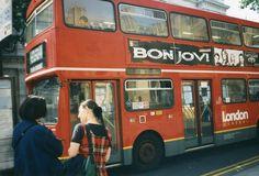 "London double decker bus with Bon Jovi ""These Days"" ad from . Double Decker Bus, Jersey Boys, Vintage London, Jon Bon Jovi, Great Love, No One Loves Me, Rock Music, True Love, First Love"