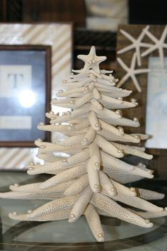 Beach Christmas tree made of starfish sea by seaglassboutique