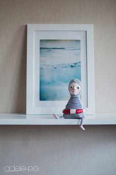 Swimmer art doll  Sea inspired Summer Salty Ocean Navy by adelepo