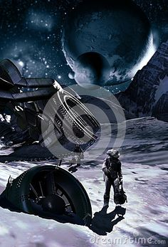 Spaceship wreck on ice planet. Two surviving  astronauts are moving away, to look for a better place.
