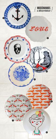 plates on the wall http://colunas.revistaglamour.globo.com/referans/2013/06/24/pratos-de-parede/