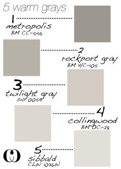 5-warm-grays. Add to that : Behr Silver Drop and Glidden Silver Birch - forthehome