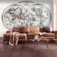 Carte antique du monde pour décorer un mur #carte #politique #papierpeint #vinyle #deco #decoration #mur #WebStickersMuraux