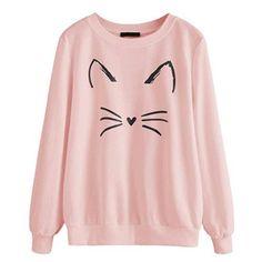 ROMWE Womens Cat Print Lightweight Sweatshirt Long Sleeve Casual Pullover Shirt - Kawaii Dresses - Ideas of Kawaii Dresses Hoodie Sweatshirts, Printed Sweatshirts, White Hooded Sweatshirt, Cat Sweatshirt, White Hoodie, Sweat Shirt, Polo Shirt, Pull Chat, Cat Shirts