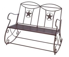 Western Lone Star Outdoor Rocking Bench - HeadWest Outfitters