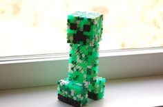 How to build a perler bead 3D Minecraft Creeper step by step with pattern - By sbrown