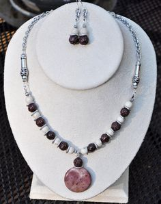 Jewelry - Necklaces - Stone necklace and earring set by JewelryArtByGail