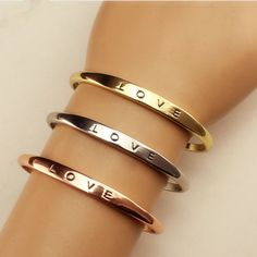 Hot Women Gold/Silver Plated LOVE Bracelet Jewelry Stainless Steel Cuff Bangle #unbranded #Bangle