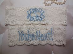, Something Blue, Monogrammed Garter Monogram Personlized by BloomsandBlessings